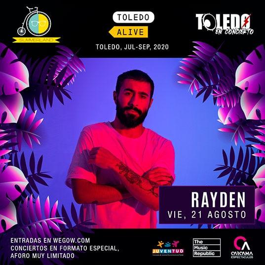 Concierto de Rayden en Toledo el viernes 21 de agosto de 2020